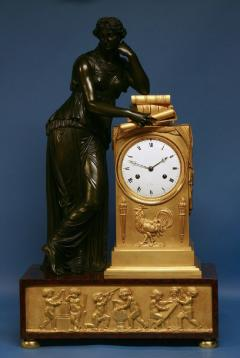 c 1815 Large French Ormolu Patinated Bronze and Red Variegated Mantle Clock - 1276556