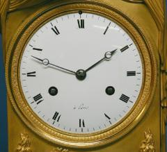 c 1815 Large French Ormolu Patinated Bronze and Red Variegated Mantle Clock - 1276559