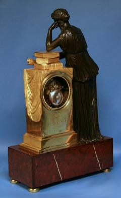 c 1815 Large French Ormolu Patinated Bronze and Red Variegated Mantle Clock - 1276561