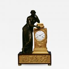 c 1815 Large French Ormolu Patinated Bronze and Red Variegated Mantle Clock - 1277564