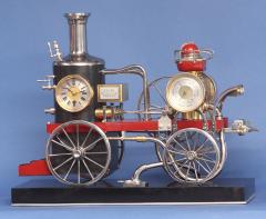 c 1900 French Industrial Fire Engine Clock - 1184026