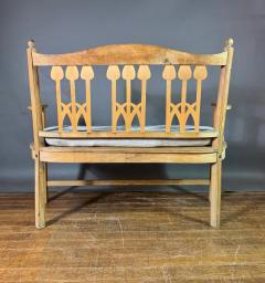 c1900 Swedish Art Nouveau Rural Pine Bench Vintage Grainsack Seat - 1350985