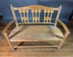 c1900 Swedish Art Nouveau Rural Pine Bench Vintage Grainsack Seat - 1350993