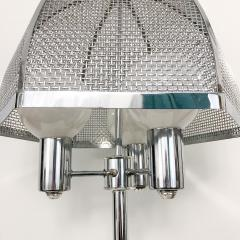 clover lamp company Chrome Floor Lamp with Chrome Cane Shade by the Clover Lamp Company 1960s - 1256160