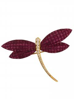 dragonfly brooch with invisibly set rubies - 1123272