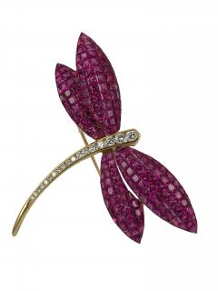 dragonfly brooch with invisibly set rubies - 1123274
