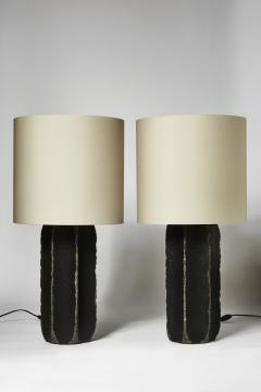 gilles caffier Pair of Black Ceramic and Leather Table Lamps - 1511375