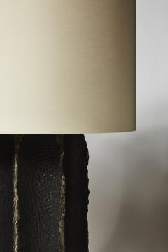 gilles caffier Pair of Black Ceramic and Leather Table Lamps - 1511376