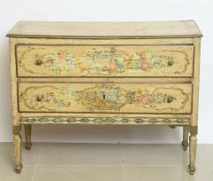 italian Neoclassic Painted an Parcel Gilt Two Drawer Commode Piedmontese - 60933