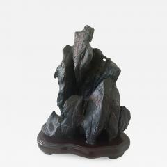 large Chinese Scholar Lingbi Stone on Wood Stand - 1997497