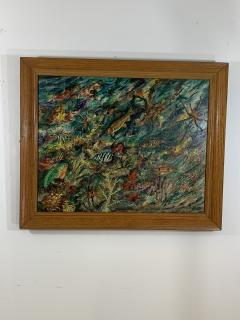 ludwik A Smialkowski MODERNIST LIFE IN THE SEA OIL ON BOARD PAINTING - 1033645