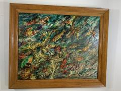 ludwik A Smialkowski MODERNIST LIFE IN THE SEA OIL ON BOARD PAINTING - 1033646