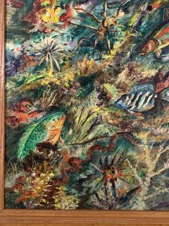 ludwik A Smialkowski MODERNIST LIFE IN THE SEA OIL ON BOARD PAINTING - 1033647