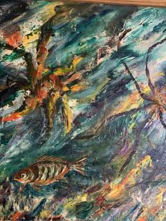 ludwik A Smialkowski MODERNIST LIFE IN THE SEA OIL ON BOARD PAINTING - 1033649