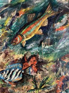 ludwik A Smialkowski MODERNIST LIFE IN THE SEA OIL ON BOARD PAINTING - 1033650