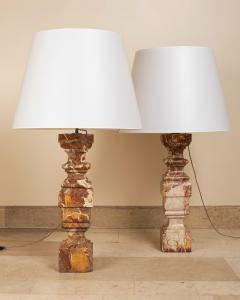 pair of 18th century marble lamps - 1827724