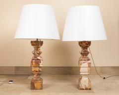 pair of 18th century marble lamps - 1827725