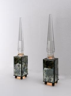pair of obelisk lamps in the style of Serge Roche - 1325400