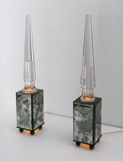 pair of obelisk lamps in the style of Serge Roche - 1325403