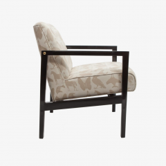 ReGeneration Furniture Pair Of Contemporary Lounge Chairs With Buff  Lacquered Frames   750451