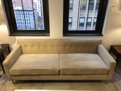 reGeneration Furniture ReGeneration Button Backed Suede Sofa on Hand Turned Solid Stainless Steel Legs - 825989