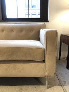 reGeneration Furniture ReGeneration Button Backed Suede Sofa on Hand Turned Solid Stainless Steel Legs - 825990