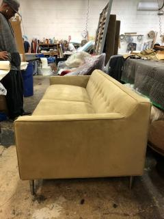 reGeneration Furniture ReGeneration Button Backed Suede Sofa on Hand Turned Solid Stainless Steel Legs - 825993