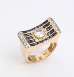 retro diamond saphire ring - 1733680