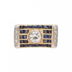 retro diamond saphire ring - 1737079