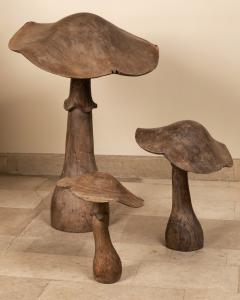 set of four wooden mushrooms early 20th century - 1867610