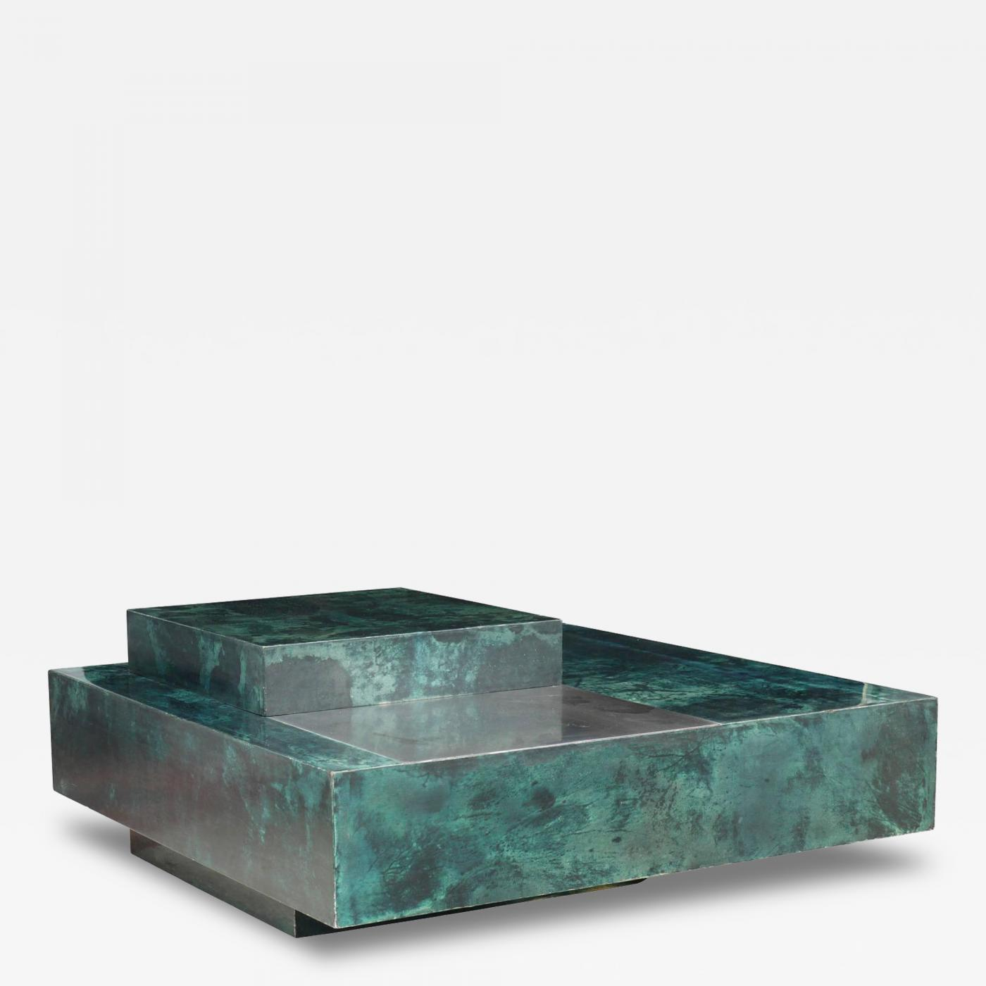 Aldo Tura Aldo Tura Emerald Green Goatskin Coffee Table and Bar