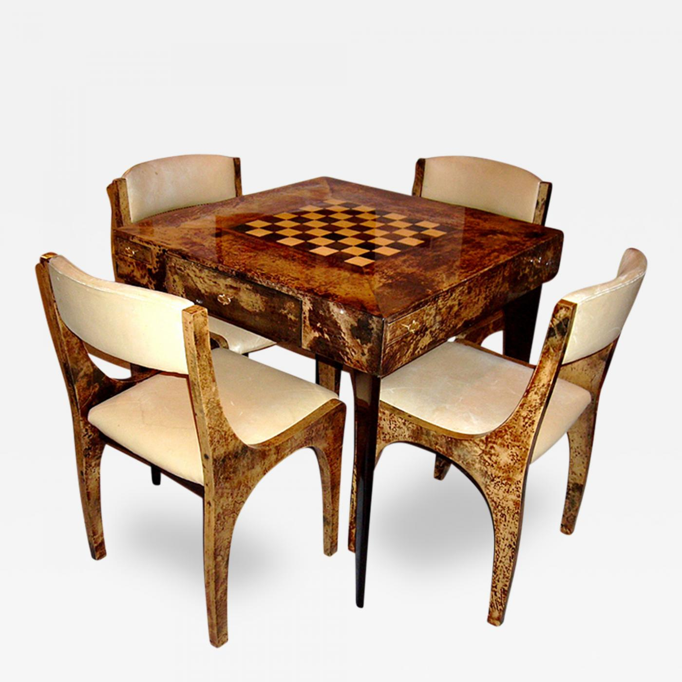 Aldo Tura Italian Goatskin Parchment Game Table and Four Chairs
