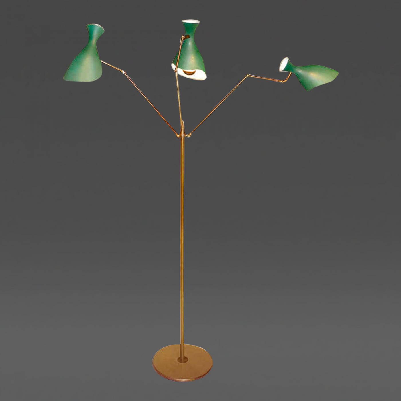 Arredoluce italian 3 arm brass floor lamp by arredoluce for Arredo luce