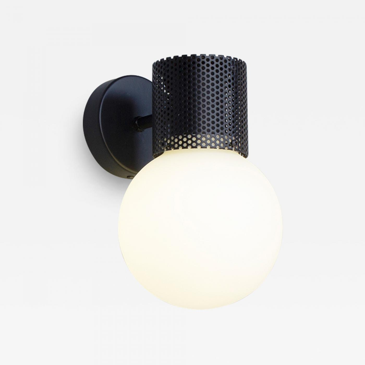 B Td Perf Wall Sconce Black Perforated Tube Glass Round Orb Shade