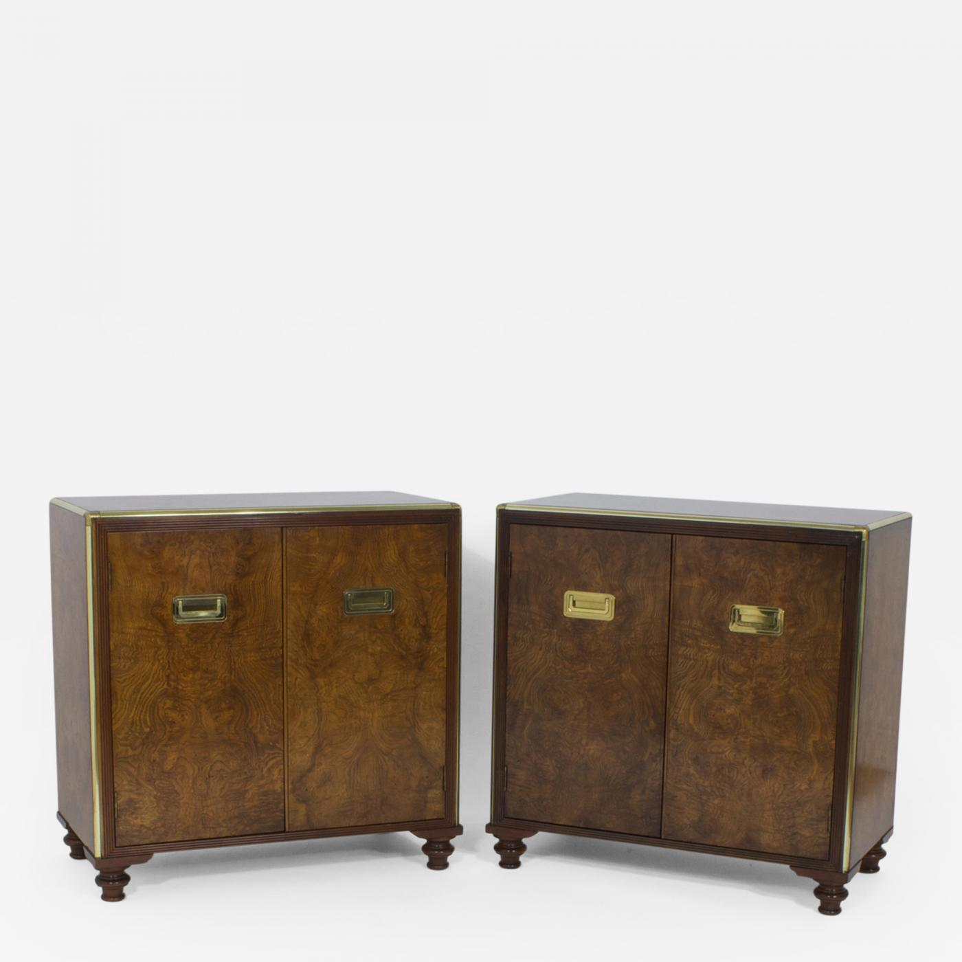 Baker furniture company pair of campaign style burl wood for Baker furniture