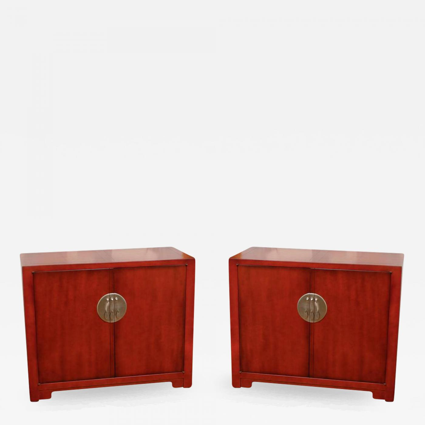 Baker Furniture Co Stunning Restored Pair Of Vintage Cabinets By Baker In Chinese  Red Lacquer