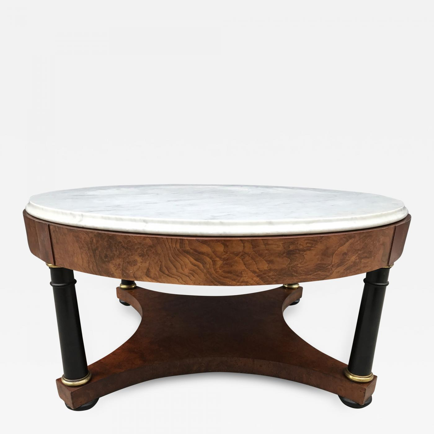 Marble Top Coffee Table By Baker With Black Lacquered Columns