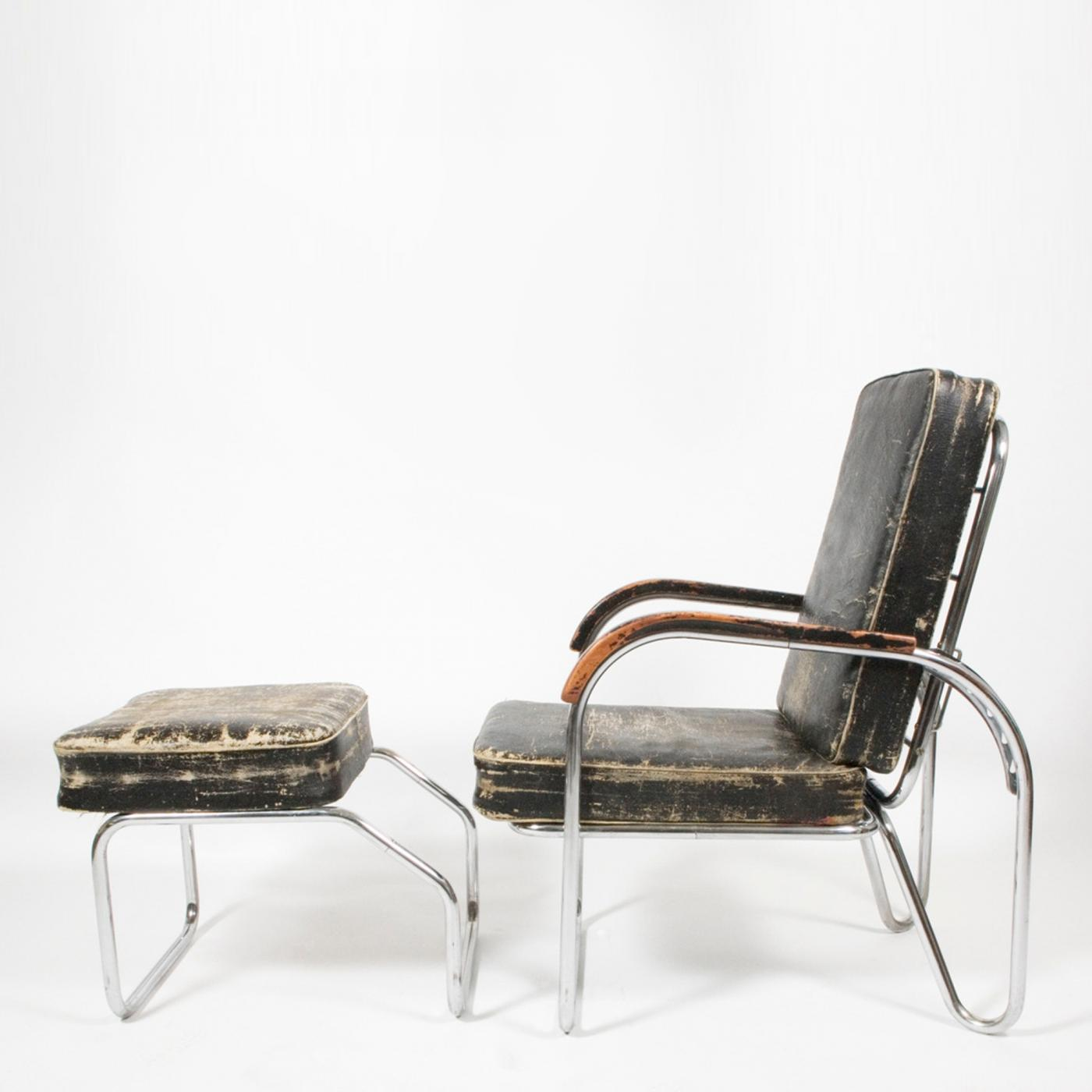 Bauhaus 1920s Original Bauhaus Easy Chair And Ottoman