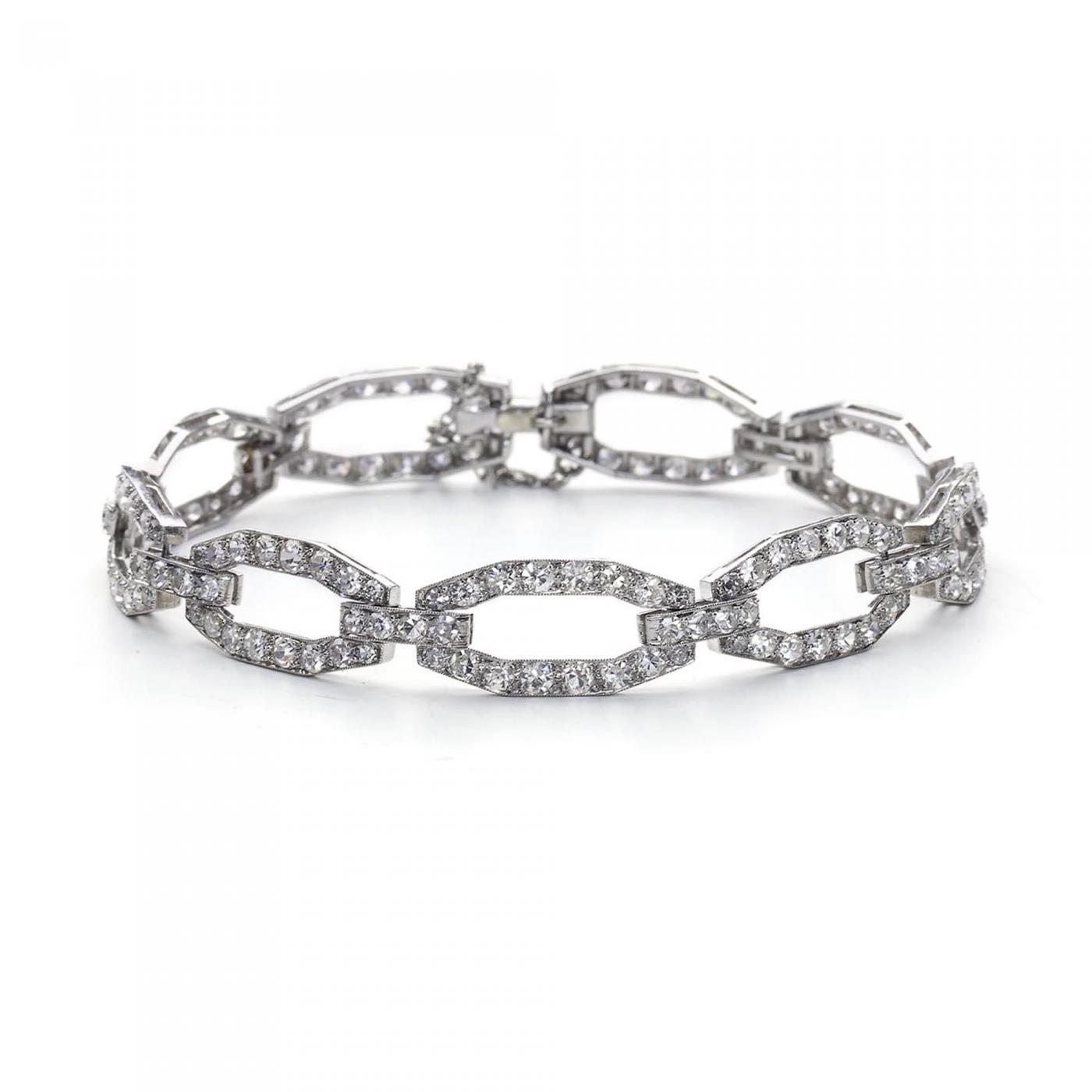 Boucheron Boucheron Art Deco Diamond Platinum Link Bracelet