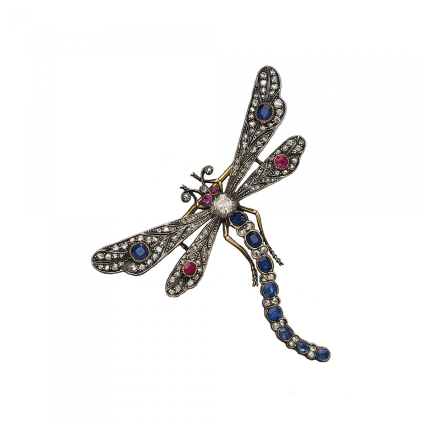 94c92ba0ad4c8 Large 1850s Diamond Ruby Sapphire Dragonfly Brooch /Pendant