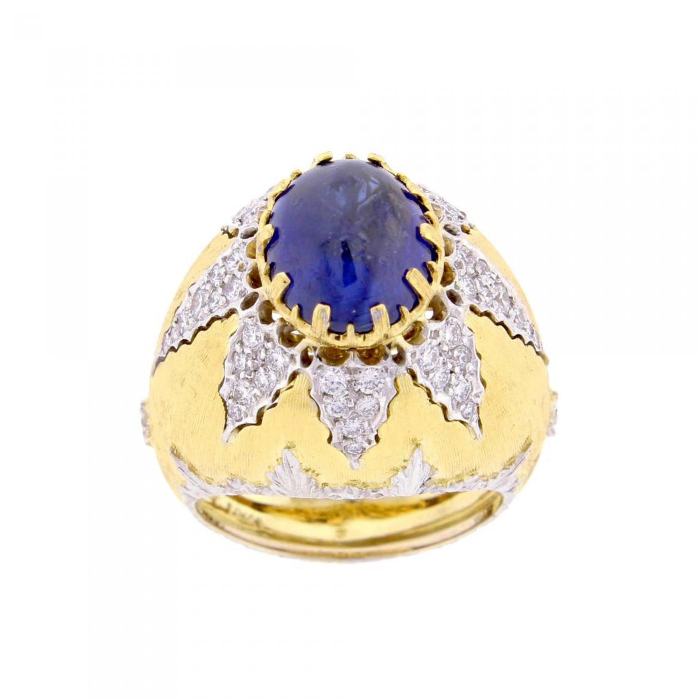 gold ring diamonds yellow with blue sapphire in created