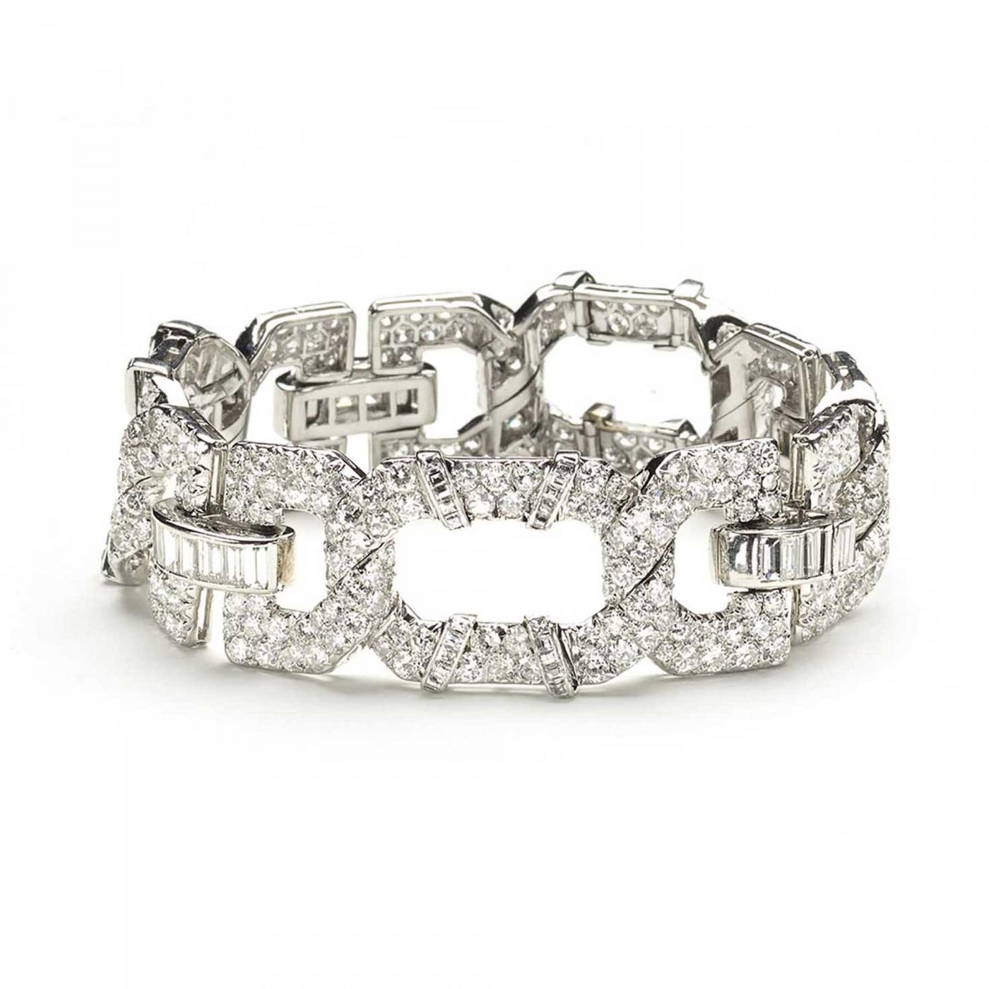 Cartier Cartier Art Deco Diamond Platinum Bracelet