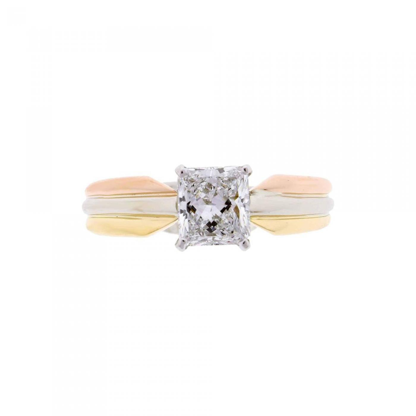 5a865ef44eadb Cartier - Cartier Trinity Radiant Diamond Gold Platinum Engagement Ring