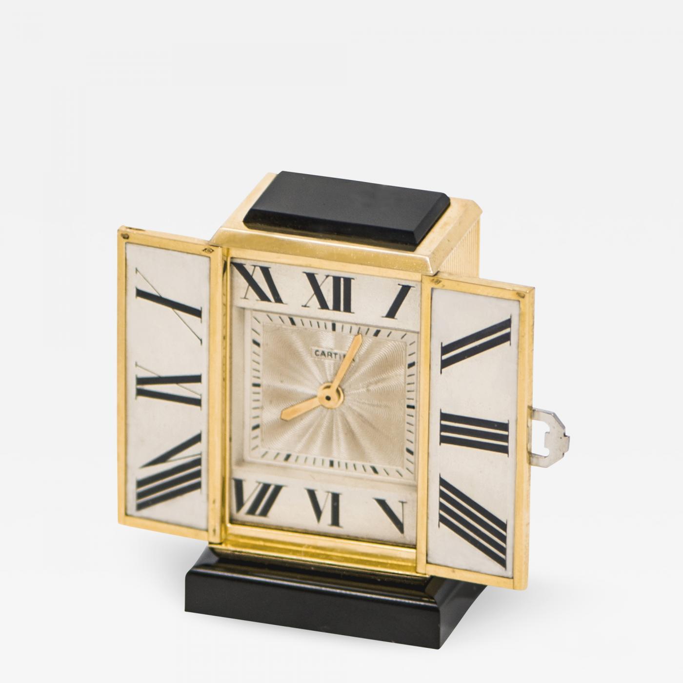 Cartier Iconic 1920s Art Deco Gold Onyx Platinum Diamond Enamel Shutter Clock