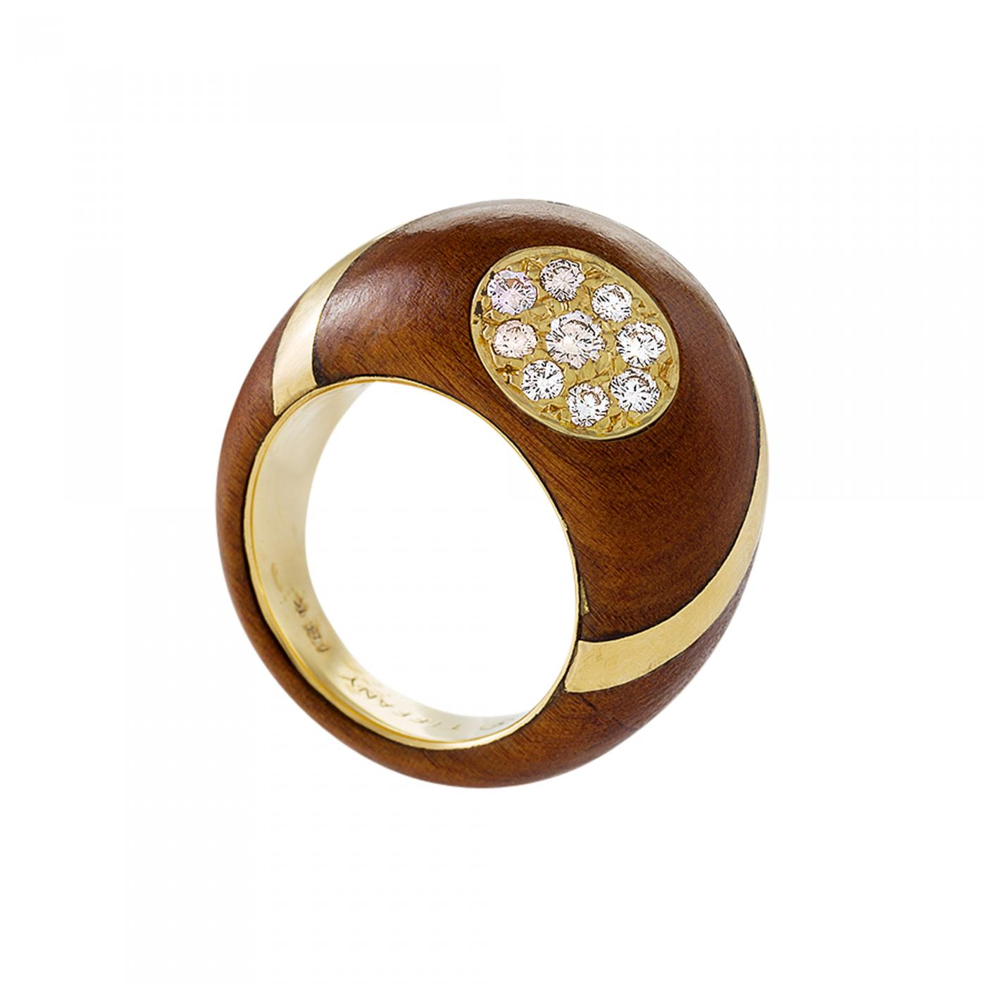 f881990c2 Carvin French for Tiffany & Co. Estate Diamond Gold and Wood Bombé Ring