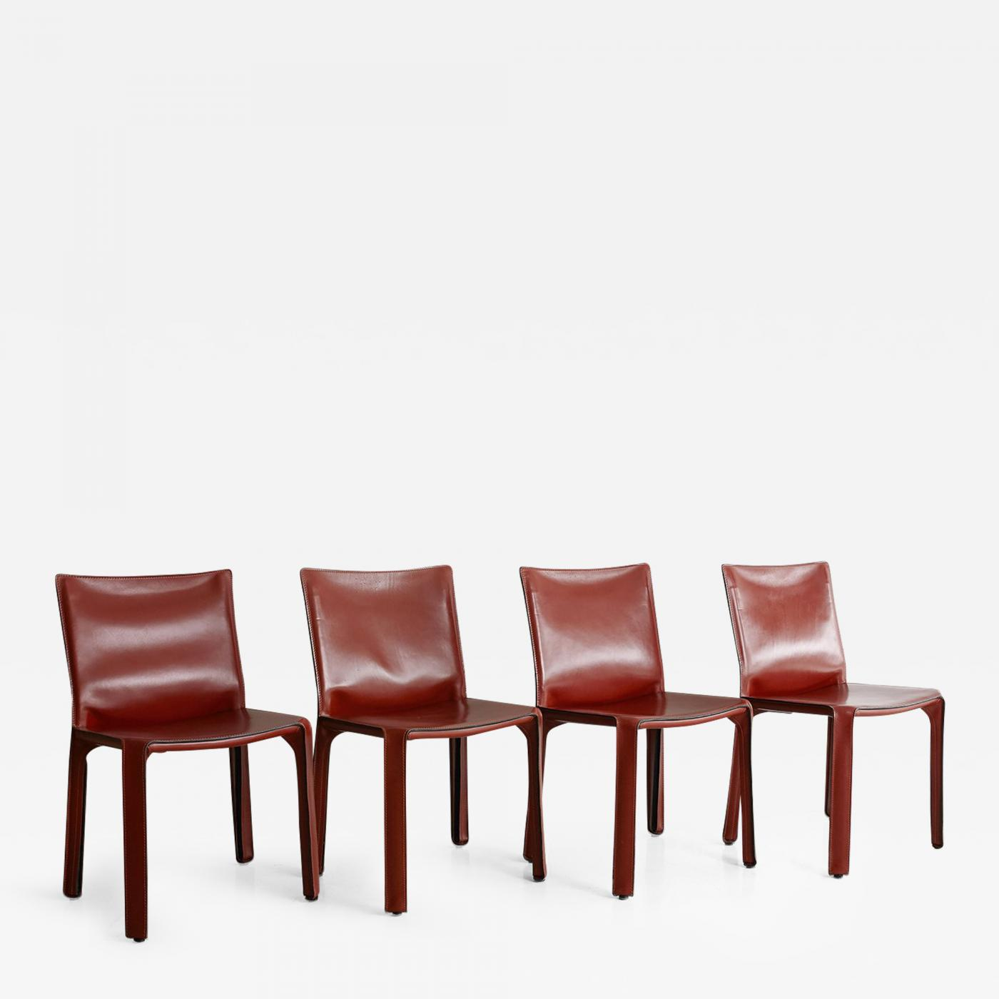 Bon Cassina Cab Side Chairs In Red Leather