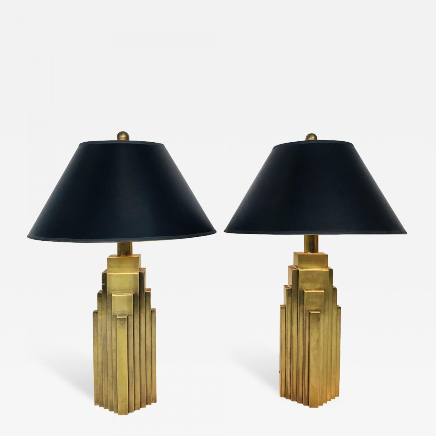 Chapman Mfg Co Pair Of Brass Skyscraper Table Lamps With Black Shades By Chapman