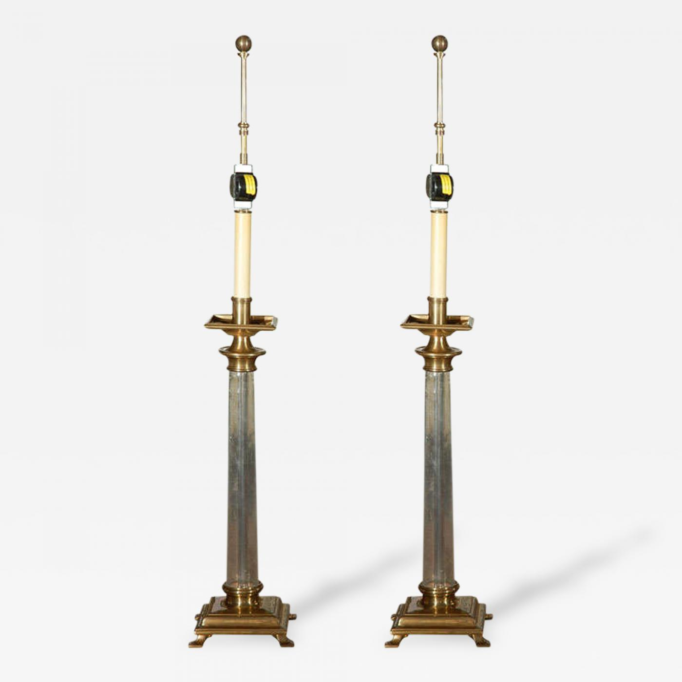 cea104f35db8a Chapman Mfg. Co. - Pair of Glass   Brass Table Lamps by Chapman