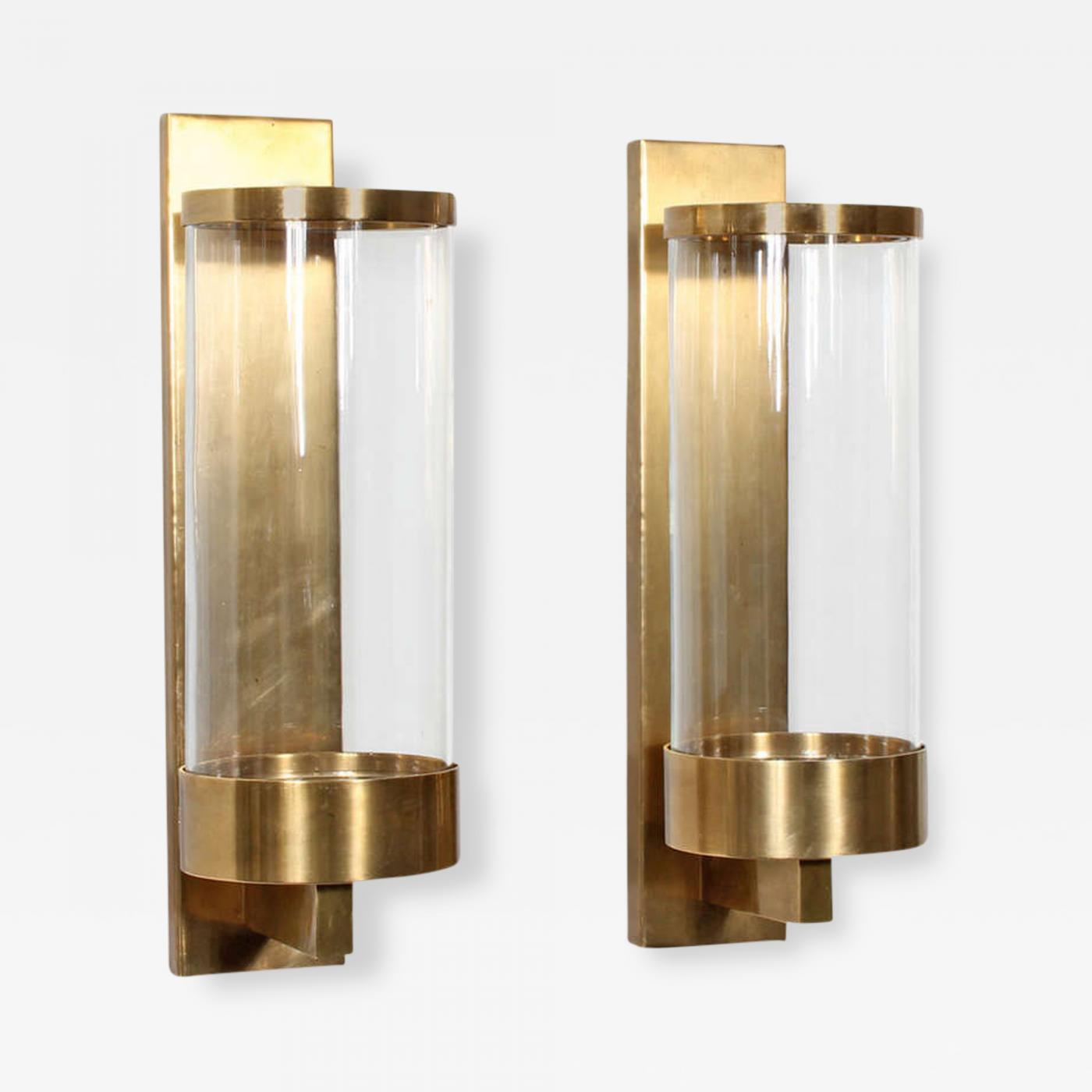 Chapman Manufacturing Company - Pair of Modern Cylinder Glass & Brass Wall Sconces