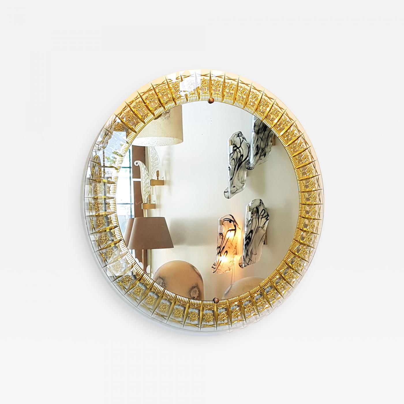 Image of: Cristal Arte Cristal Arte Round Mid Century Modern Mirror Glass Gold Carved Frame